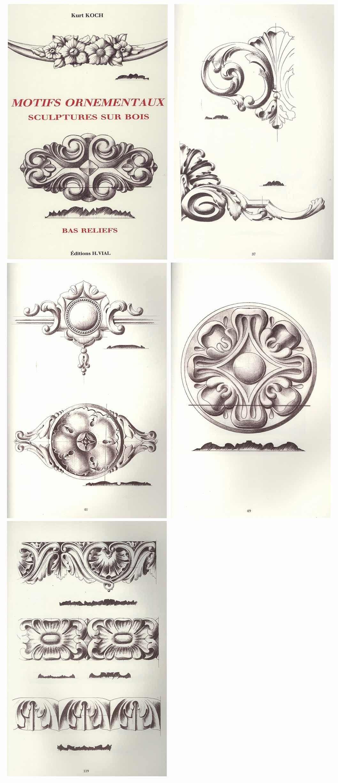 Motifs ornementaux sculptures sur bois bas reliefs kurt koch vial 325 - Sculpture sur bois motifs ...